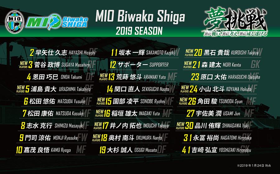 2019シーズン 背番号決定のお知らせ | MIOびわこ滋賀